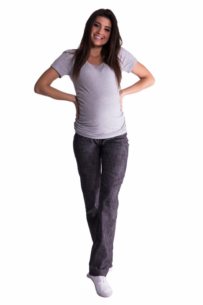 Bavlněné, těhotenské kalhoty s regulovatelným pásem - černé, vel. XXXL