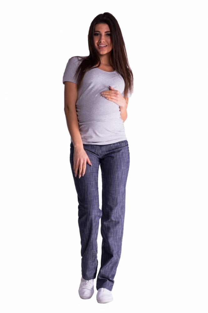 Bavlněné, těhotenské kalhoty s regulovatelným pásem - granát, vel. XXXL
