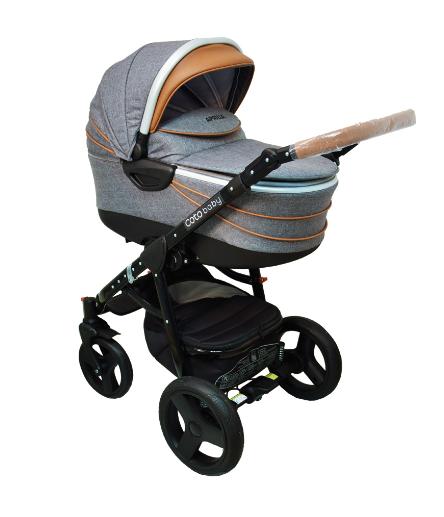 Kočárek APRILIA Coto Baby 3v1 + dárkový poukaz na 500kč - Len grey Brown