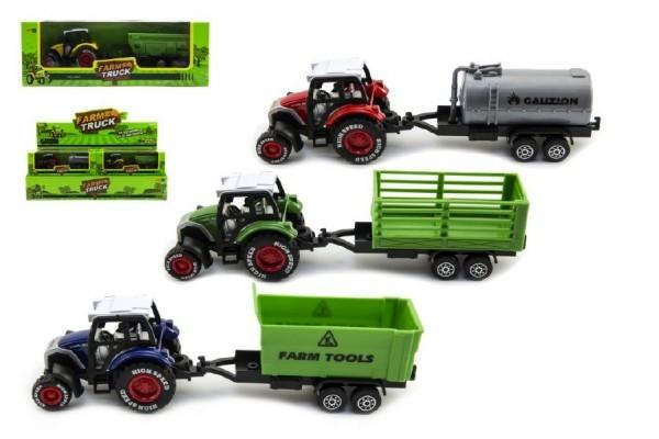 Traktor s vlečkou plast/kov 17cm na zpětný chod asst 12ks v boxu