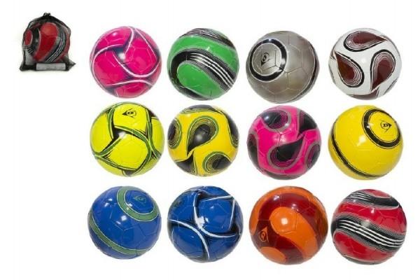 Míč fotbalový s pumpičkou 22cm Dunlop vel. 5 šitý asst mix barev v síťce