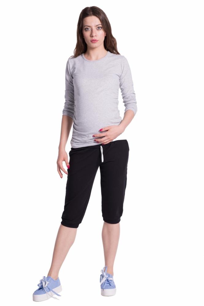 Moderní těhotenské 3/4 kalhoty s kapsami - černé, vel. XXXL