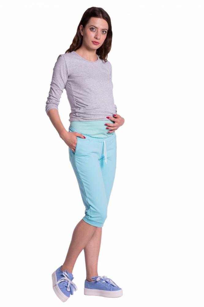 Moderní těhotenské 3/4 kalhoty s kapsami - mátové, vel. XXXL