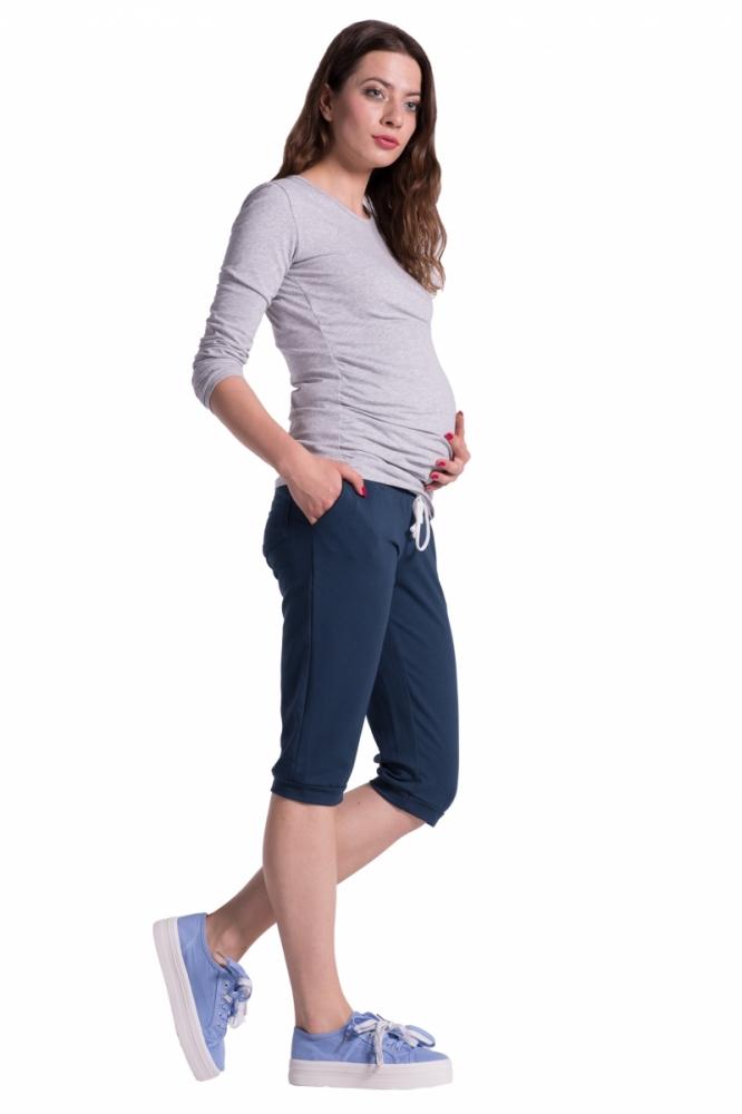 Moderní těhotenské 3/4 kalhoty s kapsami - navy, vel. XXXL