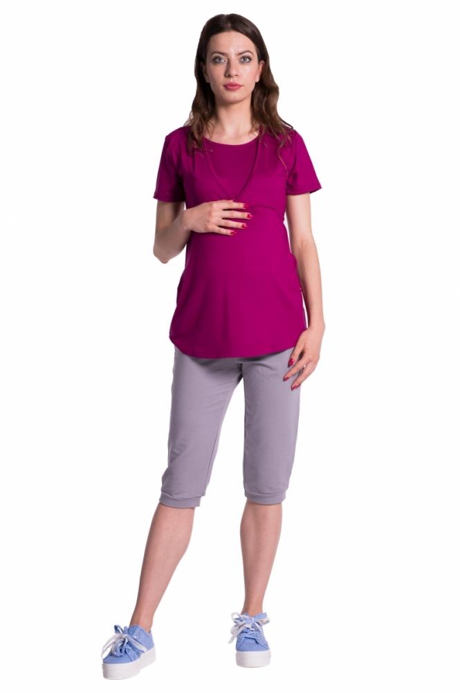 Moderní těhotenské 3/4 kalhoty s kapsami - šedé, vel. XXXL