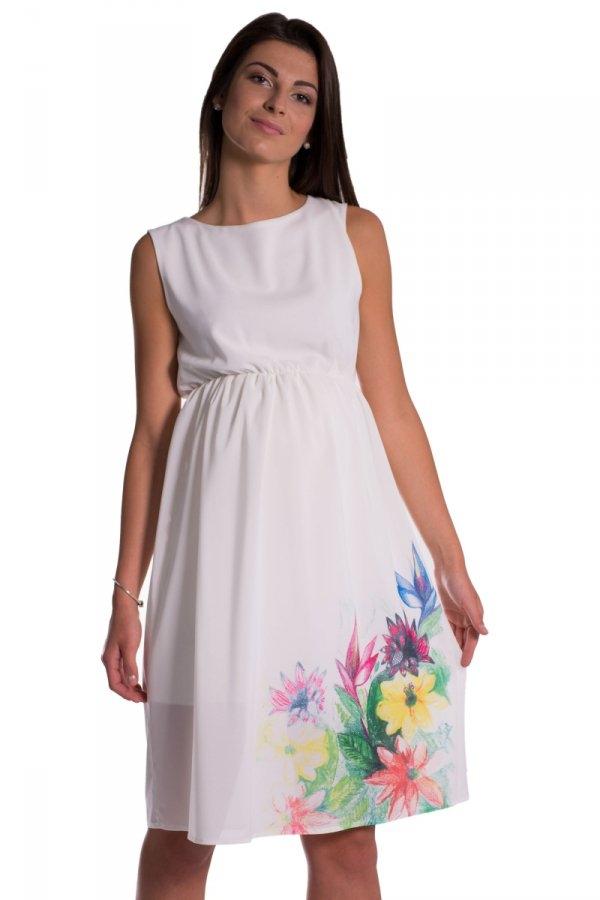 Těhotenské šaty bez rukávů s potiskem květin - ecru b58e07250c