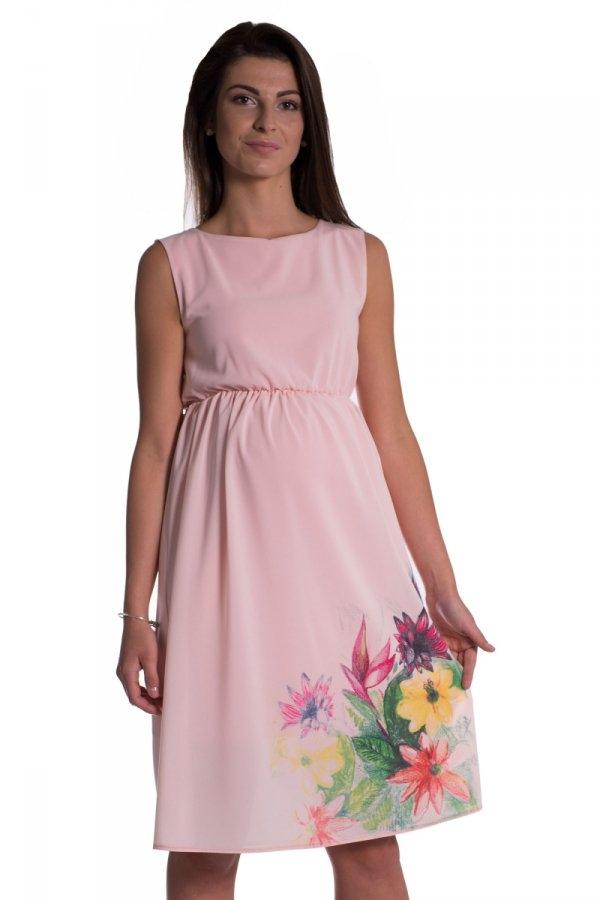 Těhotenské šaty bez rukávů s potiskem květin - růžová b38419203e
