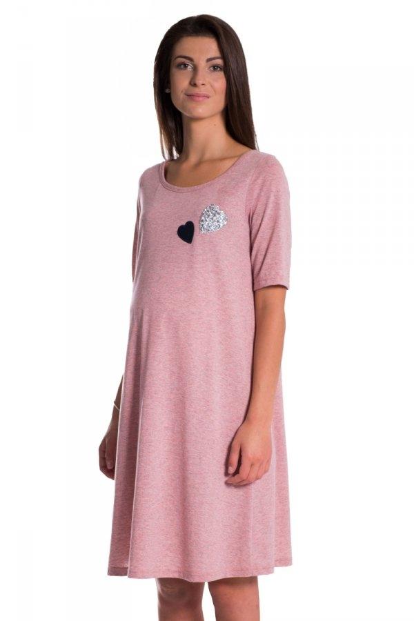 Letní, volné těhotenské šaty kr. rukáv - růžové
