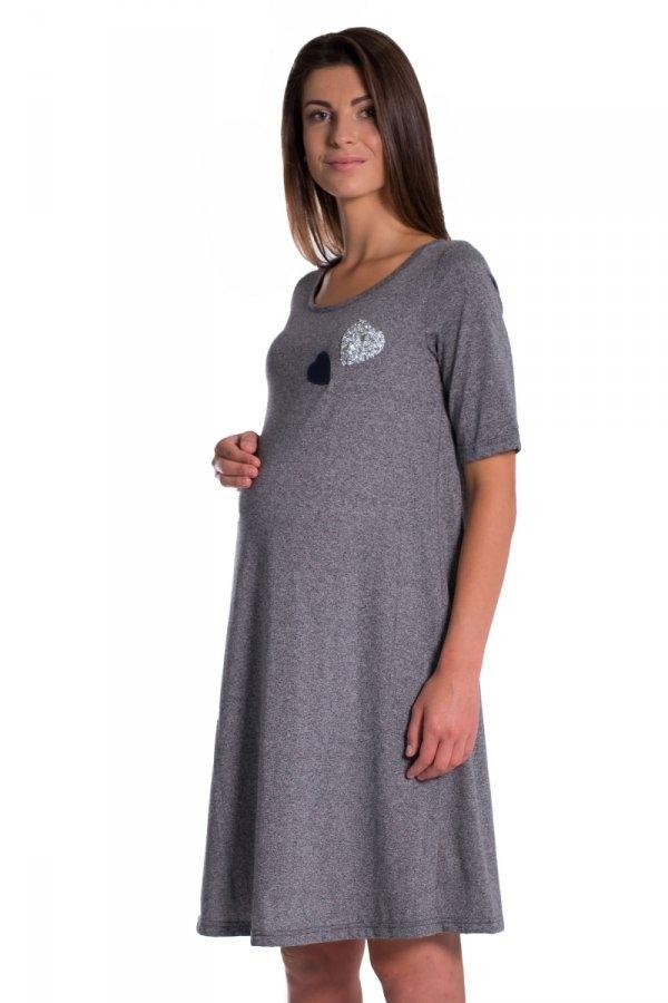 Letní, volné těhotenské šaty kr. rukáv - grafit