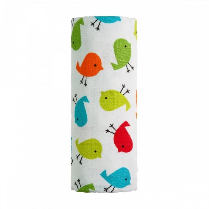 Bio bambusová dětská osuška - Ptáčci barevní - 1ks