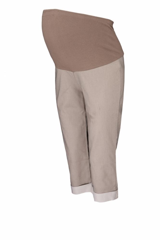 Těhotenské 3/4 kalhoty s elastickým pásem - béžové, vel. XXXL