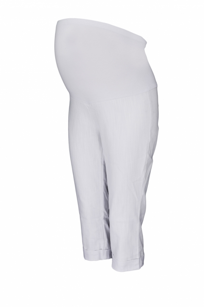 Těhotenské 3/4 kalhoty s elastickým pásem - bílé, vel. XXXL