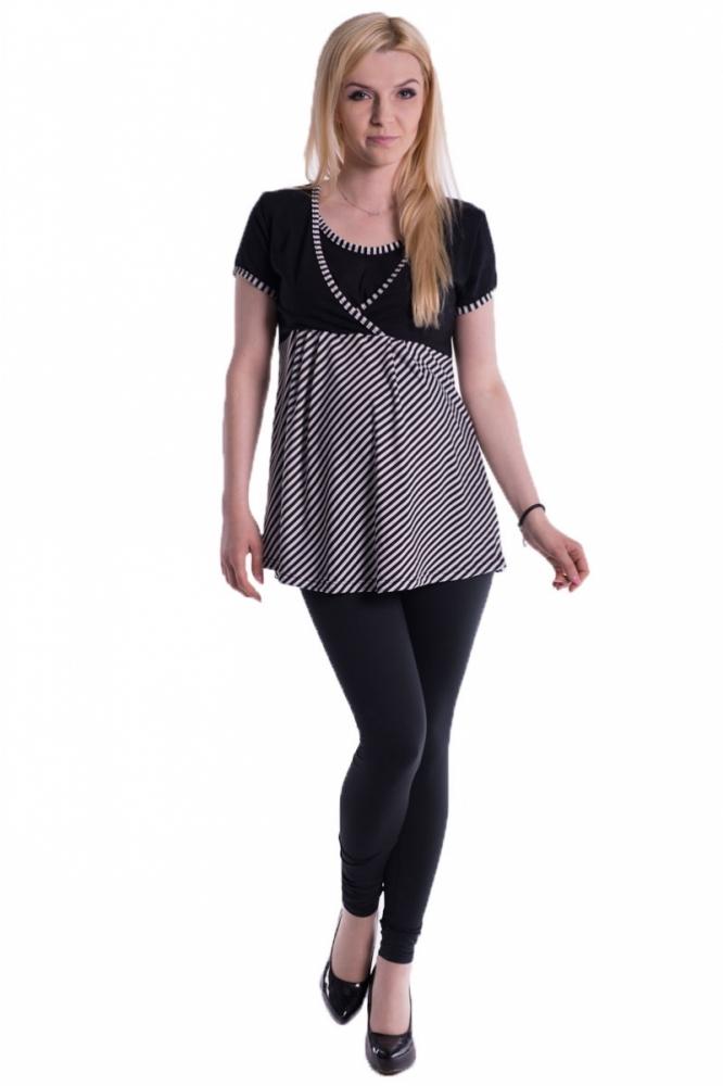 Těhotenské, kojící triko/tunika kr. rukáv - černé, vel. L/XL