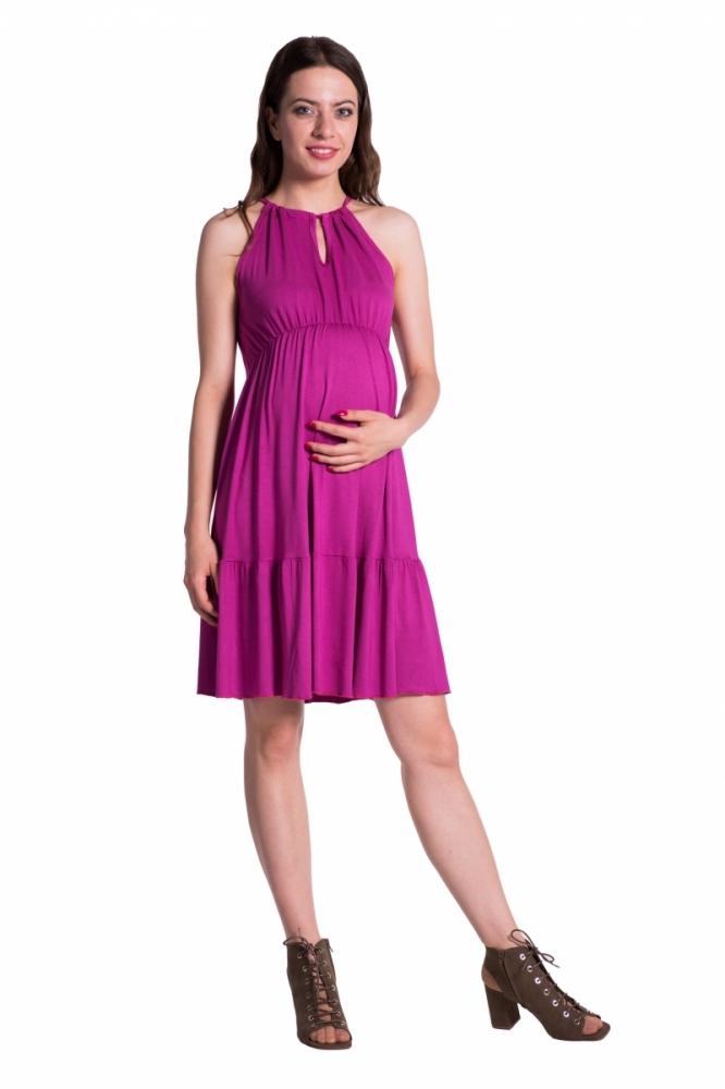5678b965636 Letní těhotenské šaty na ramínkách - tmavě růžová