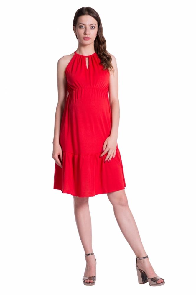 Letní těhotenské šaty na ramínkách - červené b83bda678e