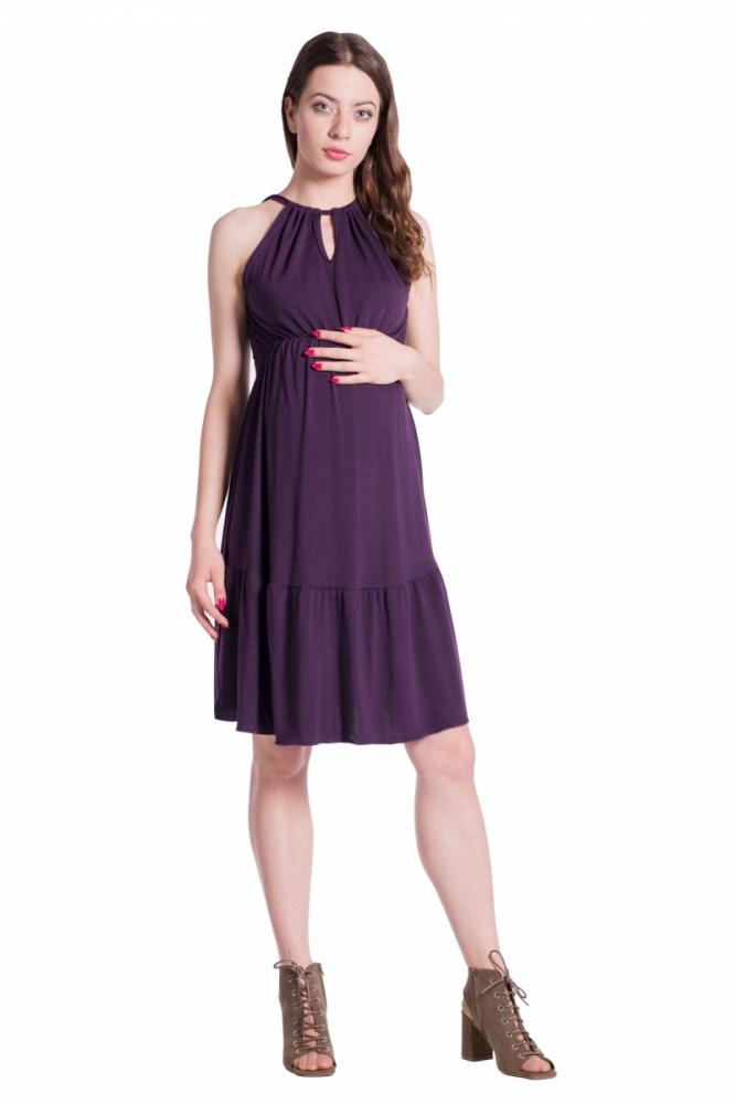 b9ab388d0cd Letní těhotenské šaty na ramínkách - švestkové