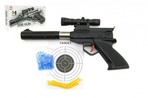 Pistole plast 30cm na měkké a vodní kuličky o průměru 6mm v krabici