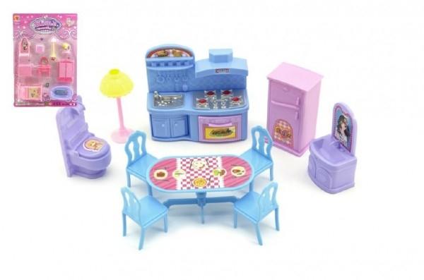 Nábytek pro panenky plast asst 3 barvy na kartě