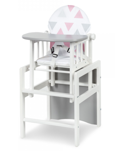Jídelní židlička Anežka II De Luxe bílá/šedá - Trojúhelníky