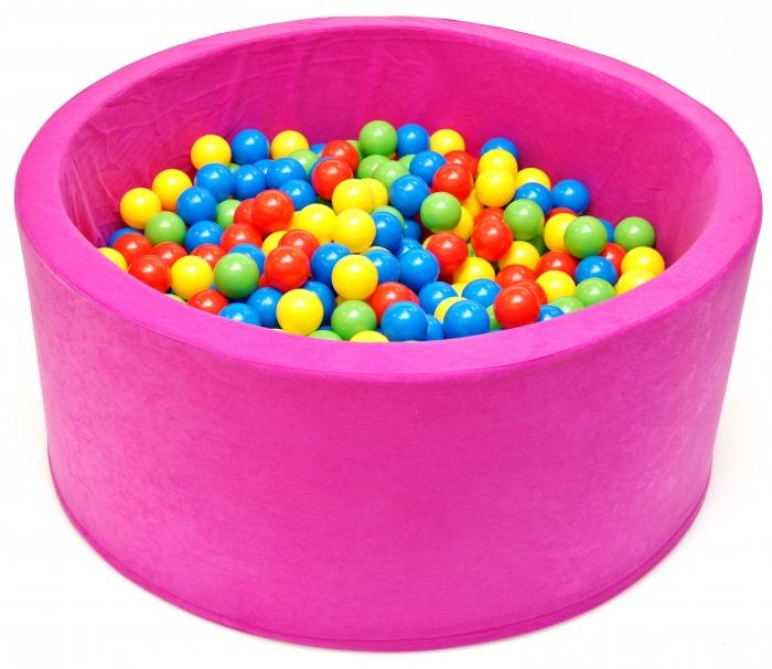 Bazén pro děti 90x40cm kruhový tvar + 200 balónků - růžový