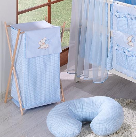 Luxusní praktický koš na prádlo - MEDVÍDEK SE SRDÍČKEM modrý