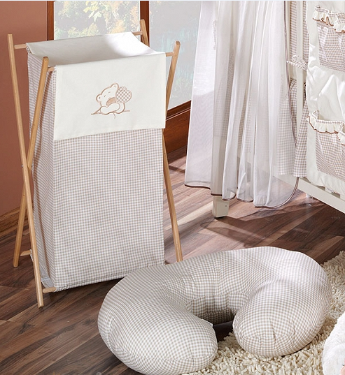 Luxusní praktický koš na prádlo - MEDVÍDEK SE SRDÍČKEM hnědý