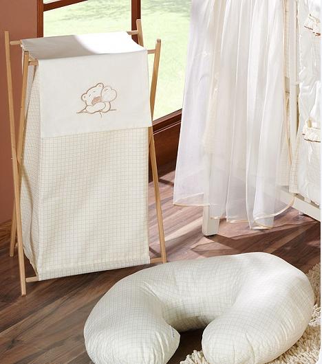 Luxusní praktický koš na prádlo - MEDVÍDEK SE SRDÍČKEM ecru
