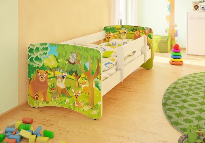 Dětská postel se zábranou Zvířátka z lesa II - 200x80 cm
