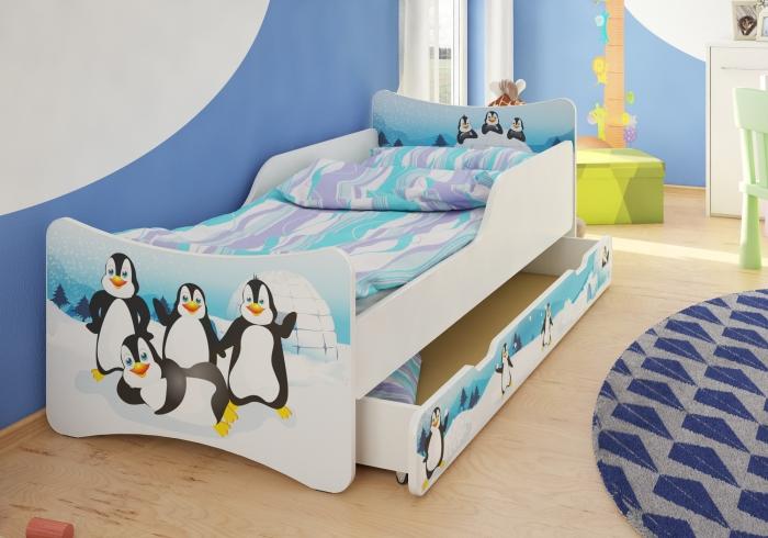 Dětská postel se zábranou Tučnáci + šuplík - 160x80 cm