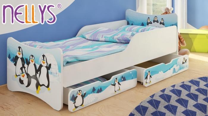 Dětská postel se zábranou Tučnáci + šuplíky - 200x90 cm