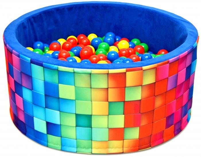 Bazén pro děti 90x40cm kruhový tvar + 200 balónků - modrý, barevné kostičky