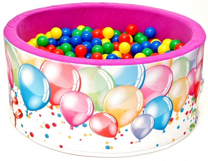 Bazén pro děti 90x40cm kruhový tvar + 200 balónků - růžový s balónky