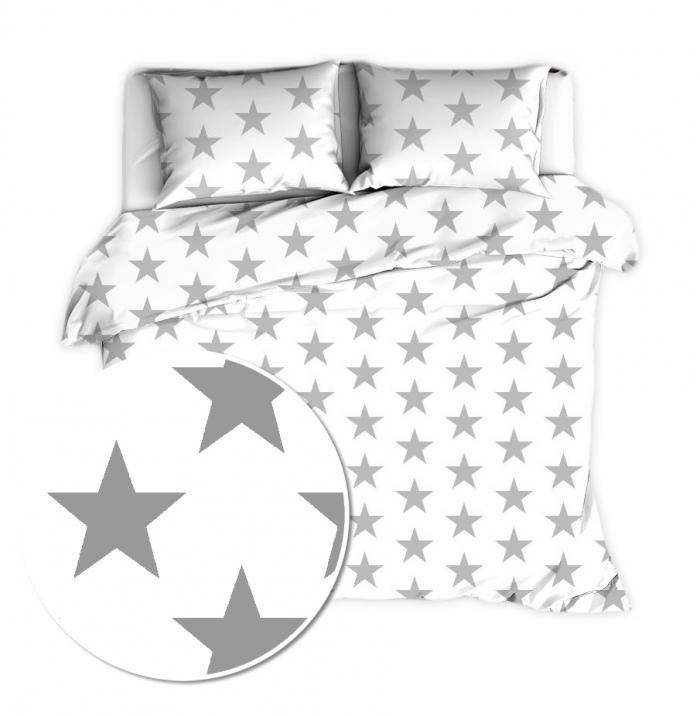 Baby Nellys 2 dílné flanelové povlečení 140 x 200/70x90 - Big Stars - bílé