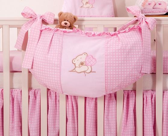 Luxusní kapsář na hračky - Medvídek se srdíčkem růžový kr.