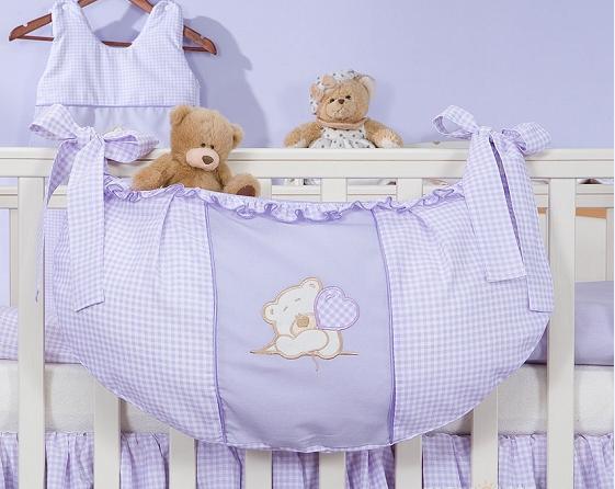 Luxusní kapsář na hračky - Medvídek se srdíčkem fialový kr.
