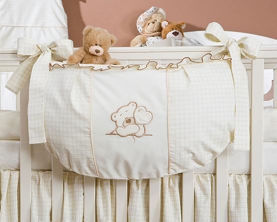 Luxusní kapsář na hračky - Medvídek se srdíčkem ecru kr.