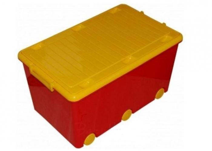 Dětský úložný box na kolečkách - červený