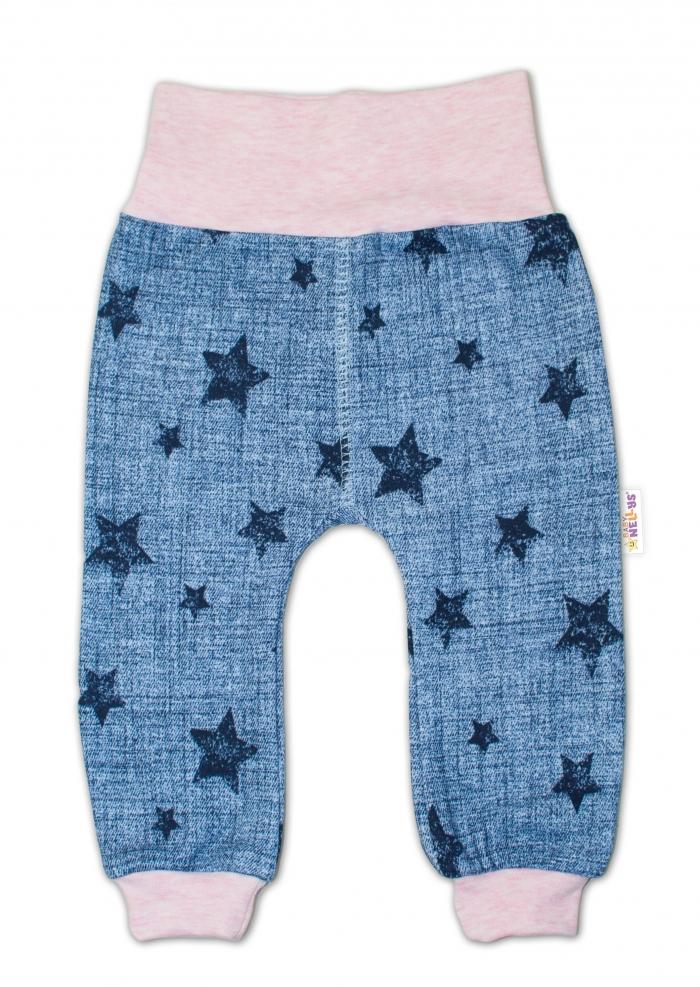 Tepláčky Hvězdičky jeans vel. 86 - růžové