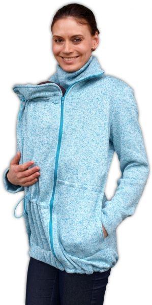 654648c6b24 Nosící fleecová mikina - pro nošení dítěte v předu i vzadu - tyrkysový  melírek