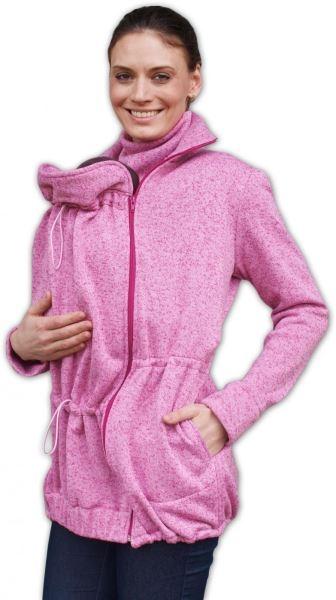 a72c2925e31 Nosící fleecová mikina - pro nošení dítěte v předu i vzadu na těle - růžový  melír