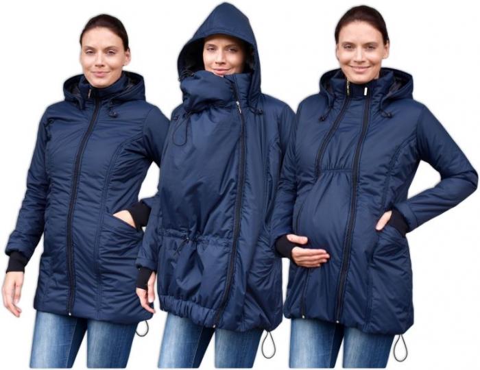 Zimní bunda pro těhotné/nosící - vyteplená, tm. modrá, vel. M/L