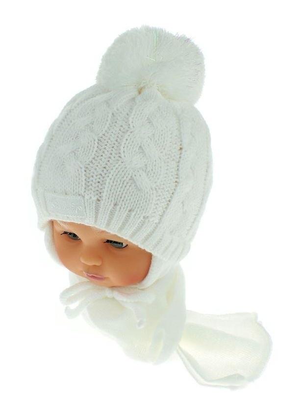 Zimní pletená čepička s šálou Baby Bear - bílá s bambulkou 975cf745df