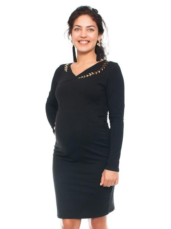 Elegantní těhotenské a kojící šaty s výšivkou - černé, vel. L