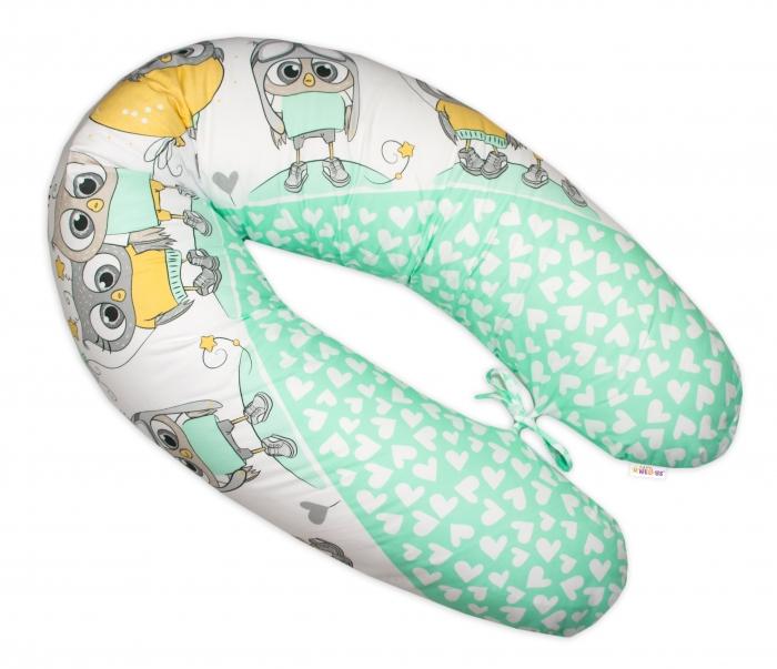 Kojící polštář - relaxační poduška Multi Cute Owls - zelený