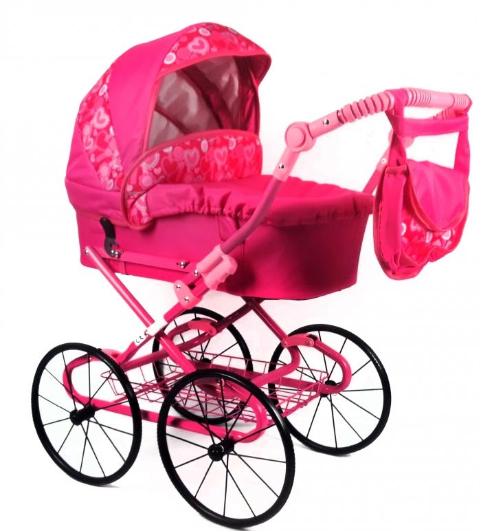 Dětský kočárek pro panenky s retro koly - růžový, srdíčka