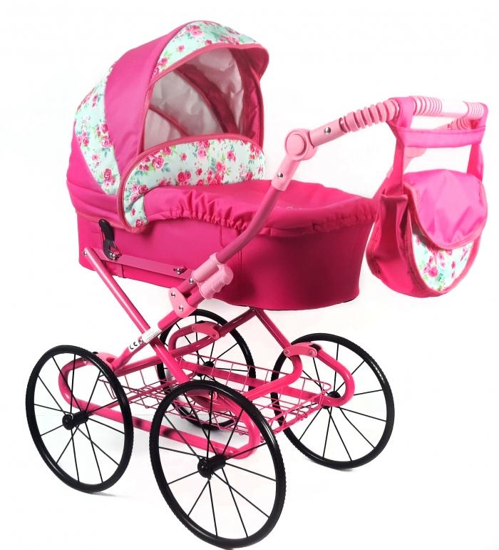 Dětský kočárek pro panenky s retro koly - růžový, růžičky