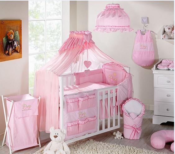 Luxusní mega set s moskytiérou - Zajíčci růžoví kostička