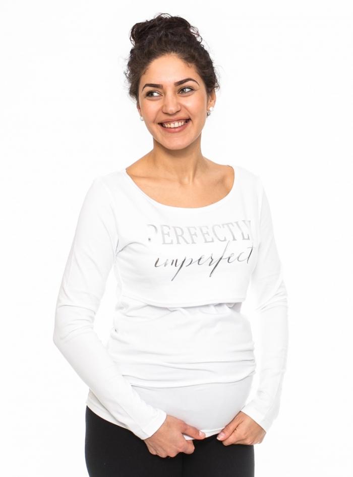 Těhotenské, kojící triko Perfektly - bílé