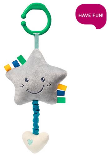 Plyšová hvězdička s hracím strojkem Lullaby Star - šedá