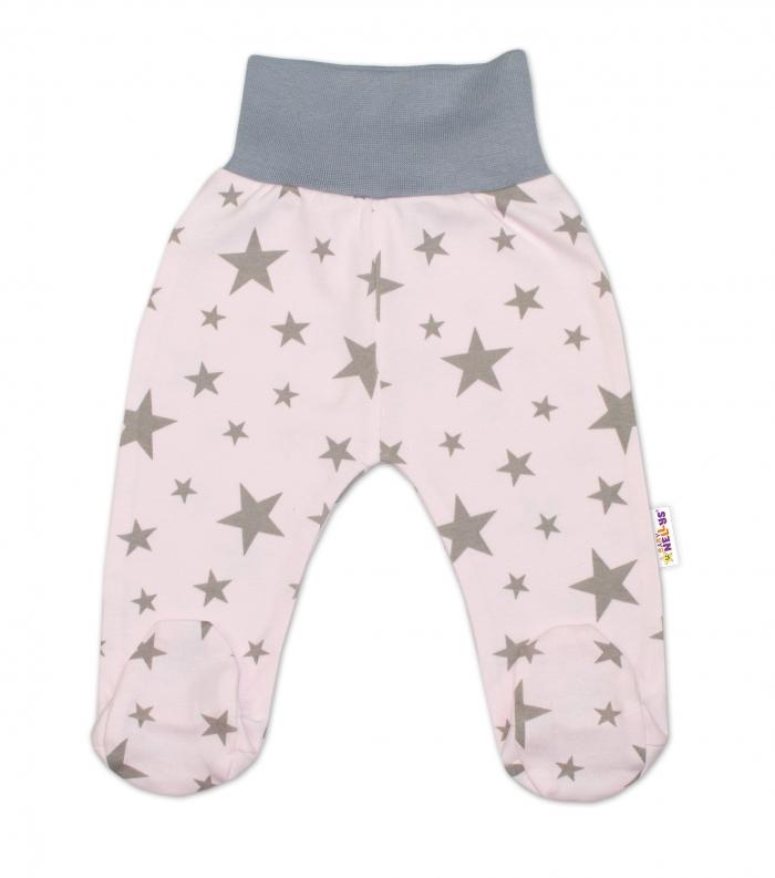 Bavlněné kojenecké polodupačky Baby Nellys ® - růžové, hvězdičky - šedé, vel. 68